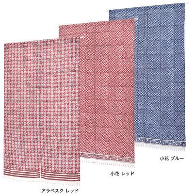 ピャリーブロックプリント のれん(ビーズ付)筒型