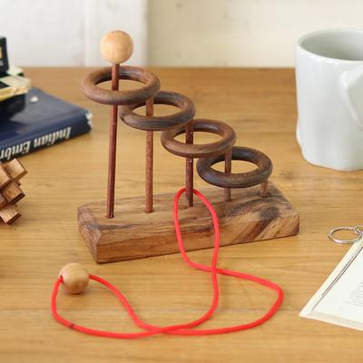 ウッドパズル 3D 知恵の輪 4段