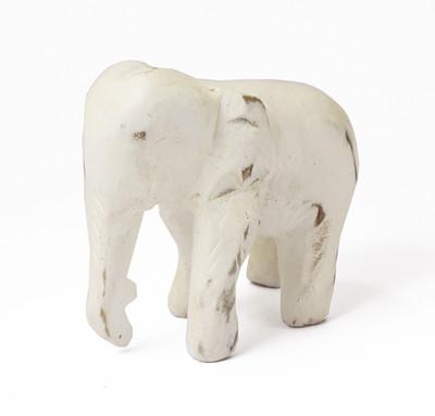 木彫りゾウ アンティークホワイトL