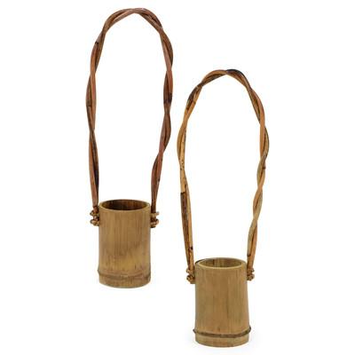 ラタンハンドル付き 竹プランター