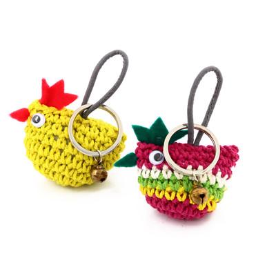 手編みニワトリキーホルダー