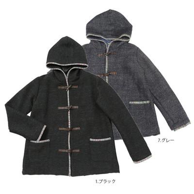 【PIPPAL】手織りボーダー フード付きコート ★特価★